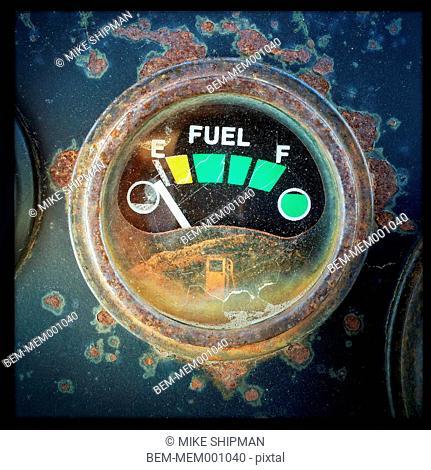 Close up of empty fuel tank gauge