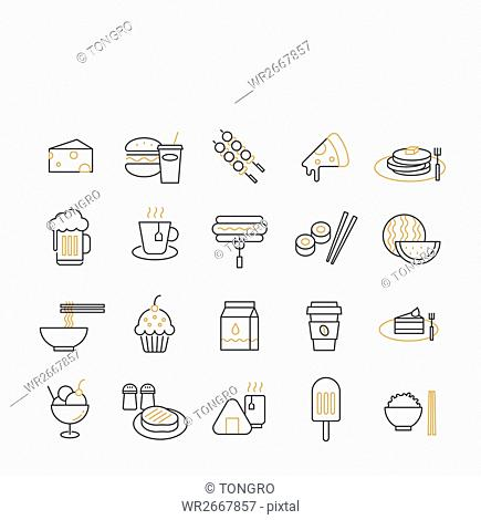 Various line icons related to food
