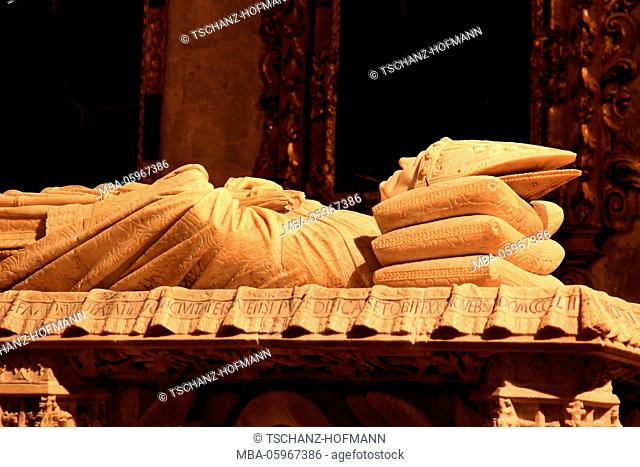 Spain, Andalusia, old town of Seville, inside of the cathedral, sarcophagus of Juan de Cervantes in the chapel of San Hermenegildo