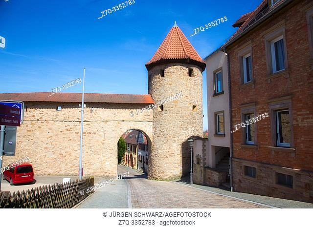 Red tower in the city wall of Kirchheimbolanden, Rhineland-Palatinate, Germany