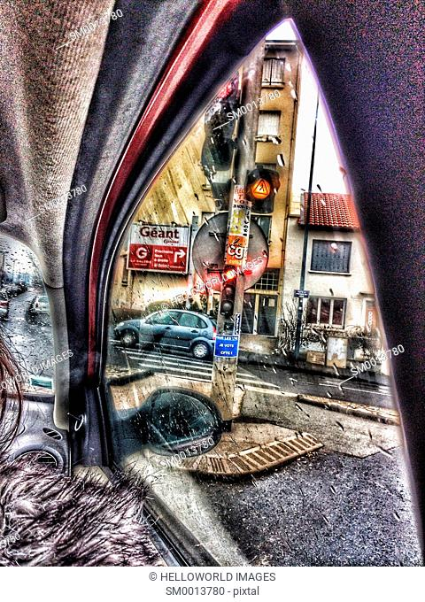 View through car window on rainy day, Clermont Ferrand, Auvergne, France, Europe