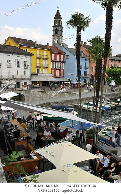 Switzerland: Scenic Ascona City Harbour at Lake Langensee in Ticino with Restaurant 7