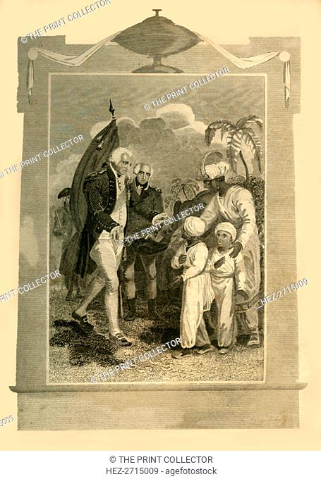 'Lord Cornwallis receiving the Sons of Tippoo Saib', (c1780s), 1816. Creator: Unknown