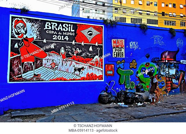 Critical advertising notice board after the football world Mastership in 2014, Rio de Janeiro, Brazil