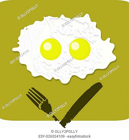 Illustration of double fried egg with grumpy face on the white background isolated