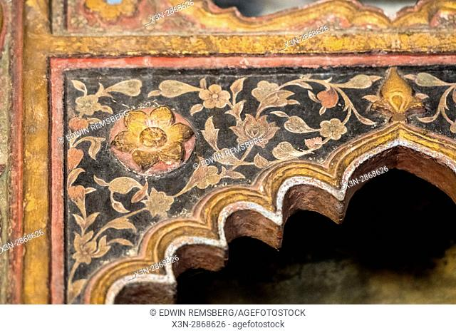 Decorative tiling detail of the Agra Fort, located in Agra, India