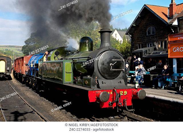 LH & JC Tank Engine No 29 pulling Freight at Grosmont Rail Station North York Moors Railway North Yorkshire England UK Great Britain GB