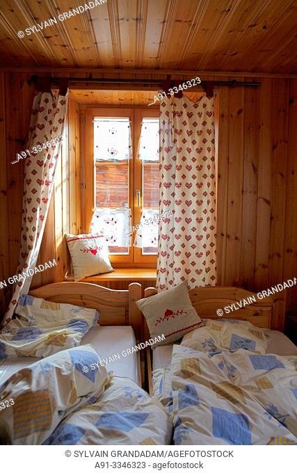 Switzerland, Valais, Val d'Herens, village of Evolene, auberge pension Pralong