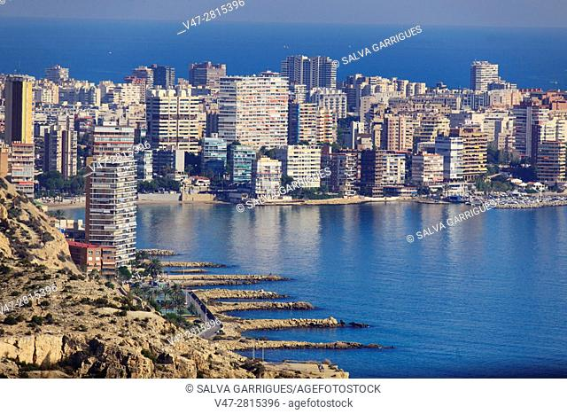 Panoramica of the apartments and buildings of the Alicante coast, San Juan de Alicante, Valencia, Spain