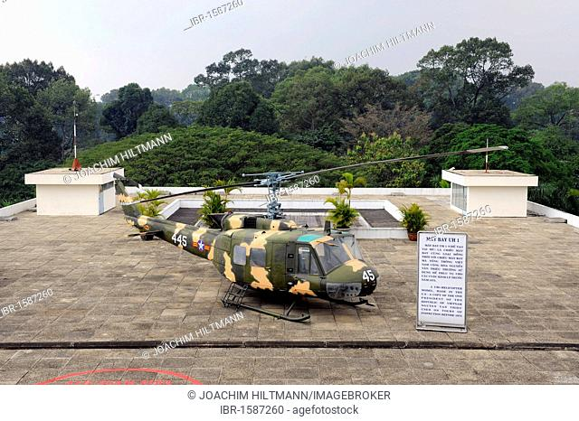 American helicopter on the roof of the Reunification Palace, Reunion Hall, former government building, Ho Chi Minh City, Saigon, South Vietnam, Vietnam