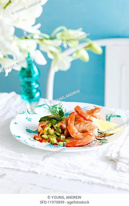 Smoked salmon terrine with prawns