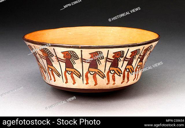 Bowl Depicting Row of Figures Holding Staffs - 180 B.C./A.D. 500 - Nazca South coast, Peru - Artist: Nazca, Origin: Nazca Valley, Date: 180 BC-500 AD