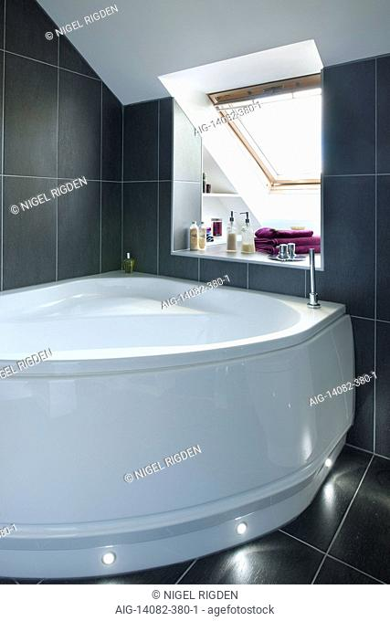 Master bedroom en suite bathroom in UK home