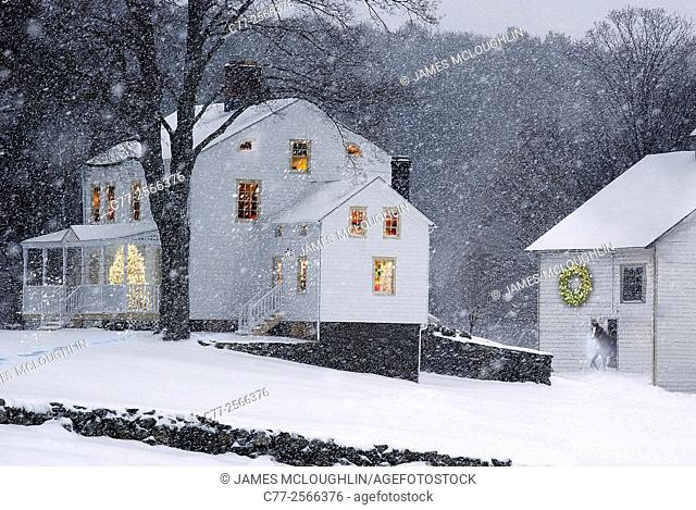 Landscape, Farm scene, Christmas, winter, snow