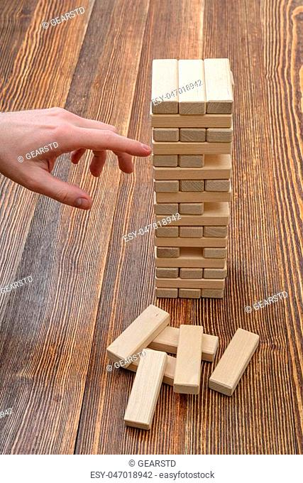 Build out of wooden toy bricks Stock Photos and Images | age fotostock