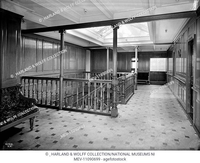 First class staircase and landing. Ship No: 392. Name: Pericles. Type: Passenger Ship. Tonnage: 10924. Launch: 21 December 1907. Delivery: 4 June 1908