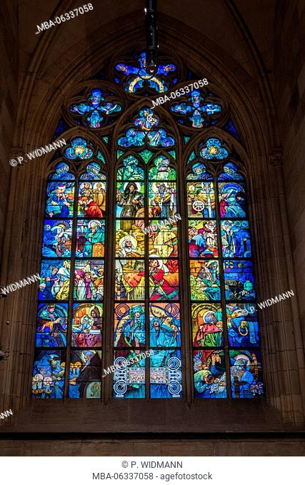 Glass window, apse of the Gothic St. Veits cathedral, Prague castle, Hradschin, castle district, Prague, Bohemian, Czechia, Europe