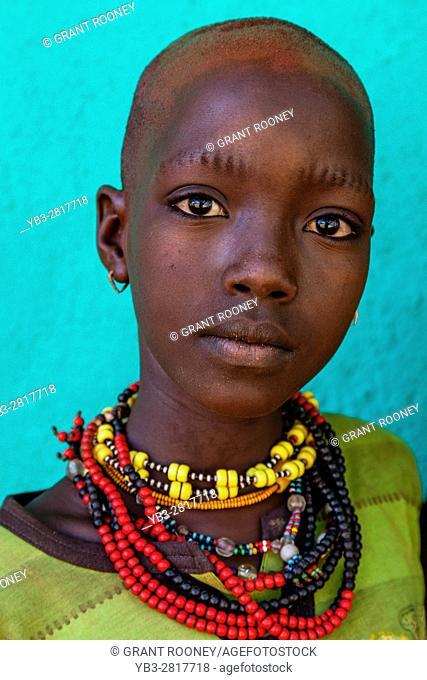 Portrait Of A Hamer Tribe Child At The Turmi Monday Market, Turmi, Omo Valley, Ethiopia