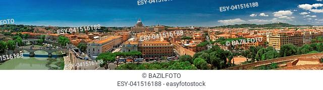 Panorama of Rome and Basilica of St. Peter in Vatican. Italy