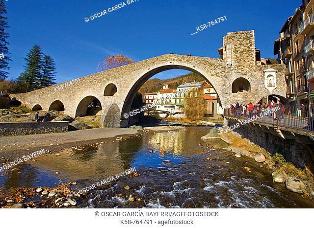 Bridge on the River Ter in Camprodon, Catalonia, Spain
