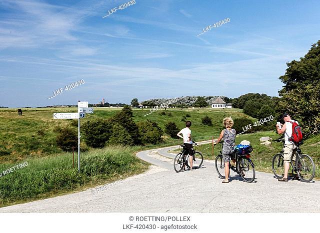 Cyclicts reading map, Baltic Sea, Vitt, Cape Arcona, Island of Ruegen, Mecklenburg West-Pomerania, Germany