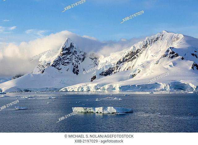 Snow-capped mountains of Cuverville Island, Errera Channel, Antarctica