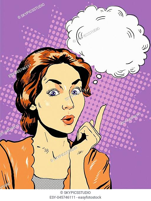 Thinking woman with speech bubble. Vector illustration in retro pop art comic style