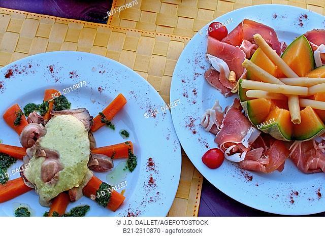 """France. Aquitaine. Dordogne. Food: """"""""Tête de veau sauce Griviche"""""""" and """"""""Melon aux asperges et jambon"""""""""""