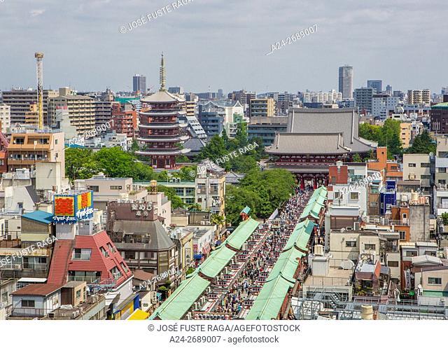 Japan, Tokyo City, Asakusa , Sensoji Temple and Five storie Pagoda