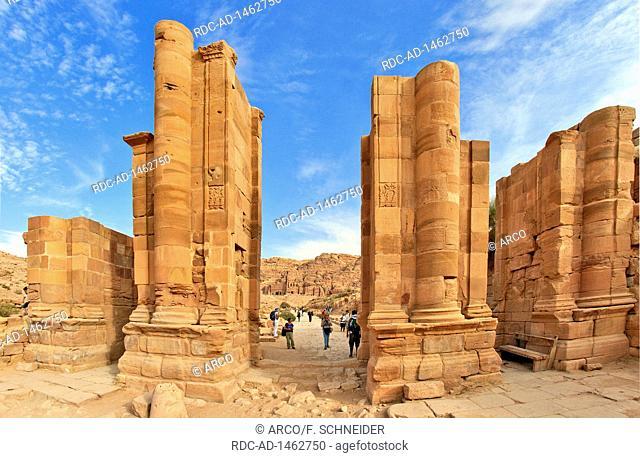 Ruins of great gate, ancient city of Petra, columns, UNESCO world heritage, Jordan, Asia, Petra
