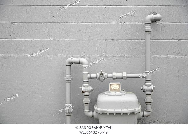 Gas Meter on gray painted wall