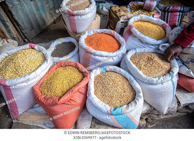 Canvas sacks filled with lentils and other produce for sale, Mekele, Ethiopia. Mekele, Ethiopia