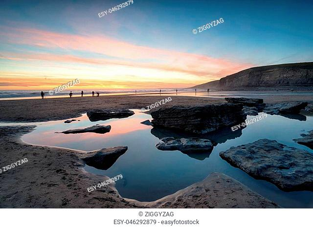 Sunset at Dunraven Bay on the south coast of Wales