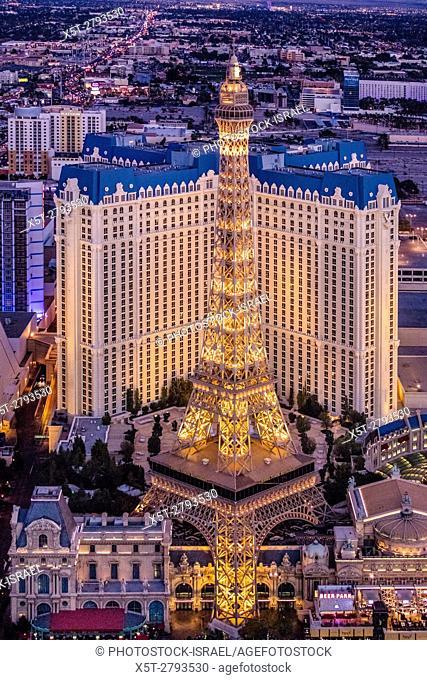 Aerial view of Paris Hotel and Casino the Strip, Las Vegas, Nevada, USA