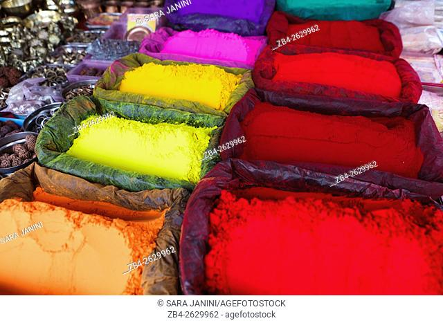 Religious colorful powder abir is a dye common in India. It is used during the Holi festival and used to make the Tilaka markins on the foreheads of Sadhus