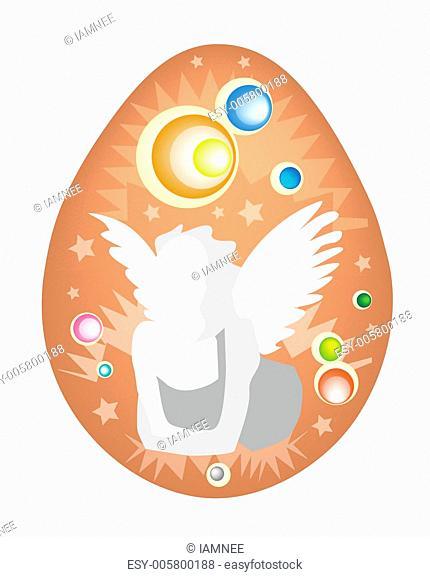 An Illustration of White Angel Painted on Easter Egg