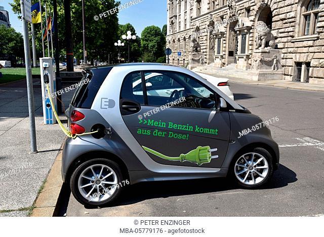 Germany, Saxony, Leipzig, electric car, charging station
