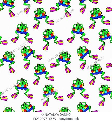 green frog in flippers floating in the sea, top view, cartoon funny character, seamless pattern