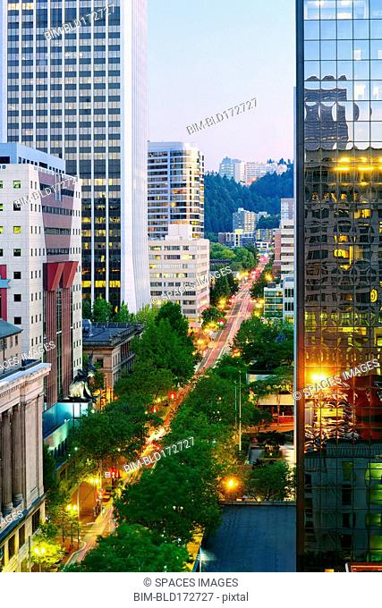 High angle view of traffic in downtown Portland, Oregon, United States