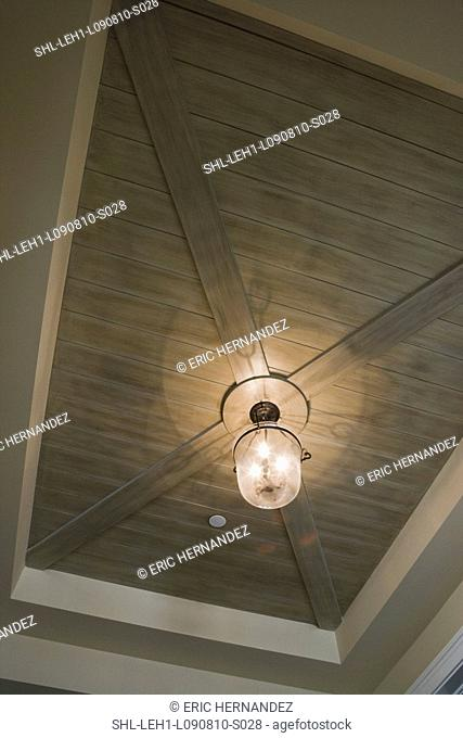 Contemporary light hanging from hardwood ceiling
