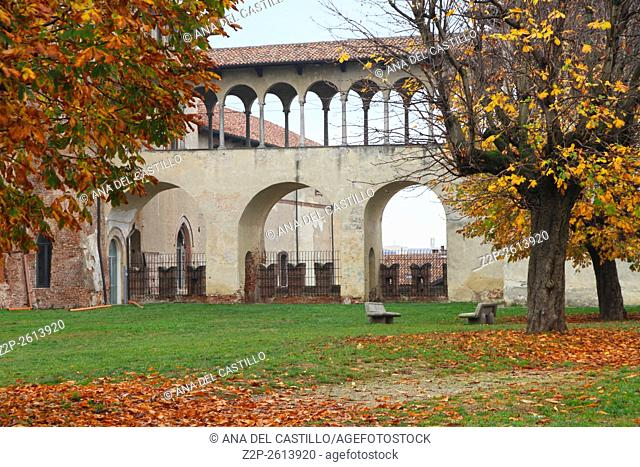The covered corridor at the palace Sforzesco in Vigevano Italy
