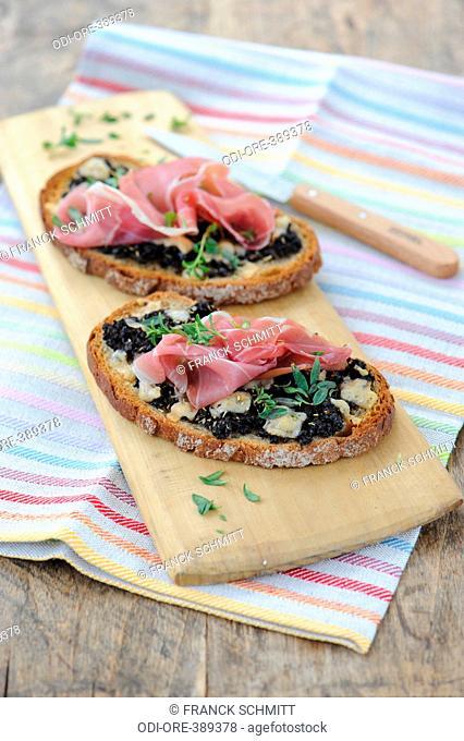 Tapenade and ham bruschetta