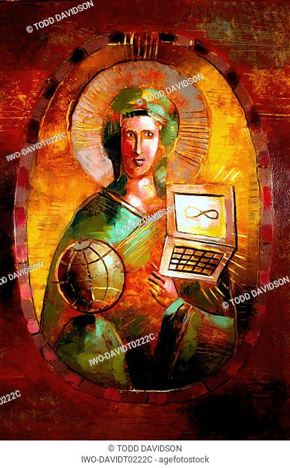 Saint In Icon Holds Laptop & Globe