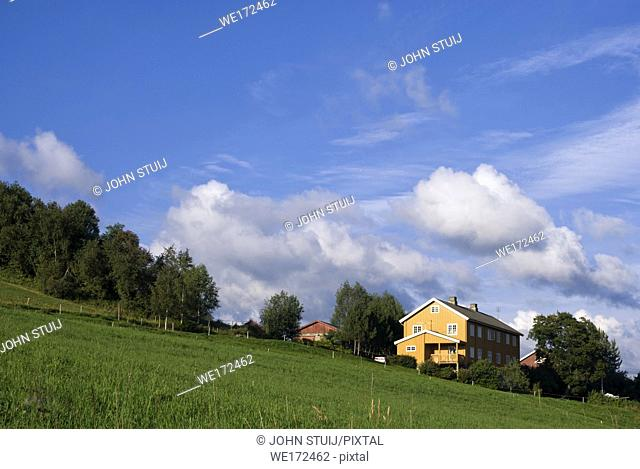 Yellow painted farm in the Norwegian Gausdal