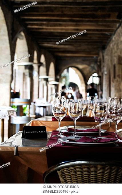 Wine glasses on reserved table