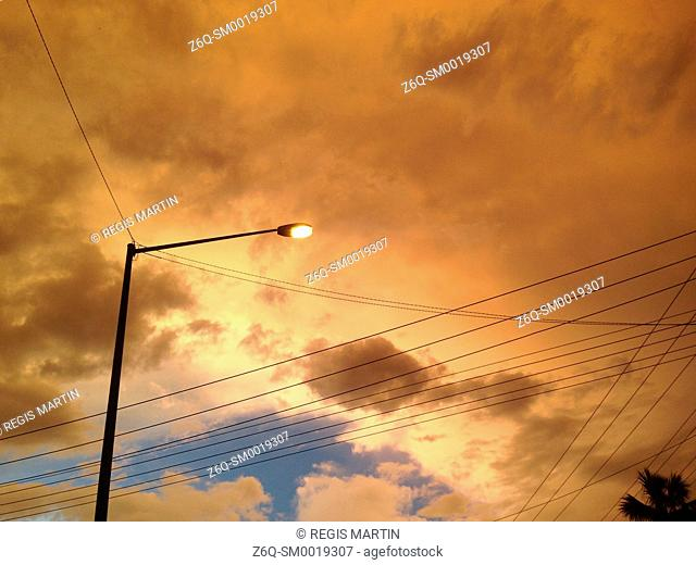 Sunset over the power lines