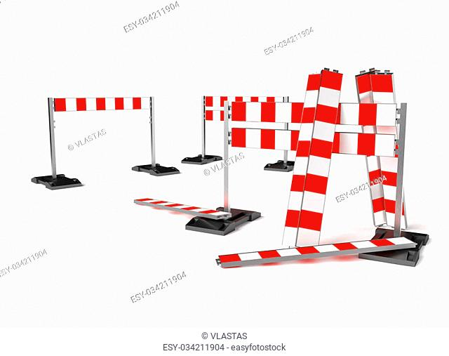 Traffic construction symbol, mobile barricade. Objects isolated on white background