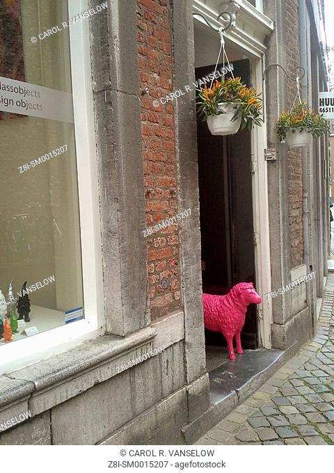 Figure of pink lamb standing in doorway of shop on the Jekerstraat in the old city of Maastricht