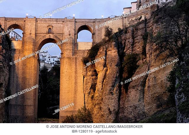 Puente Nuevo, new bridge, over Tajo gorge at night, Ronda, Málaga province, Andalusia, Spain, Europe