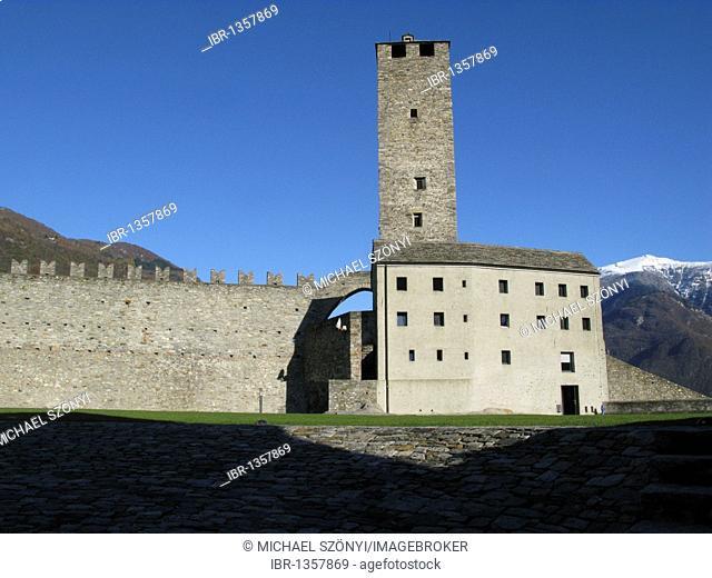 Castelgrande, the largest of the three famous castles in Bellinzona, UNESCO World Heritage Site, Bellinzona, Ticino, Switzerland, Europe